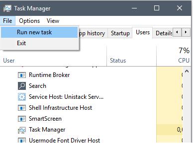 New task pada task manager