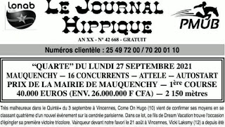programme quinté Pronostic Lundi 27/09/2021