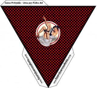 Pin Up in Black with Red Polka Dots Free Printable Pyramid Box.
