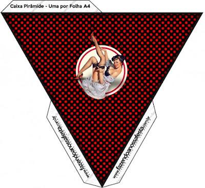 Caja con forma de pirámide de Pin Up en Negro con Lunares Rojos.