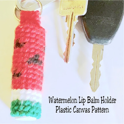 Keep your lip balm close while you are on the move with this fun Watermelon lip balm holder made from plastic canvas. #plasticcanvas #watermelon #lipbalmholder #pattern #diypartymomblog