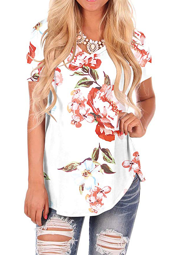 WFTBDREAM Womens Casual Curved Hem Long Sleeve T Shirt V Neck Side Slit Blouse - floral White4
