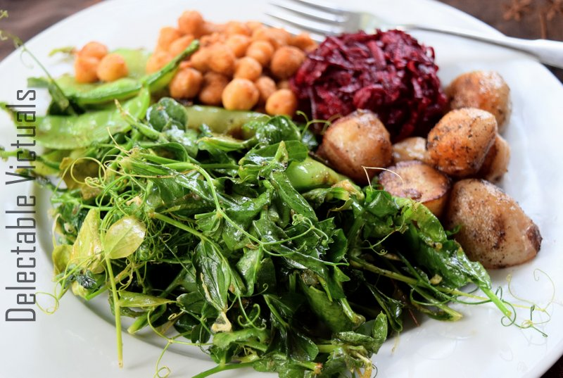 Home Garden Pea Tips with Beets, Chickpeas, Potatoes buddha bowl