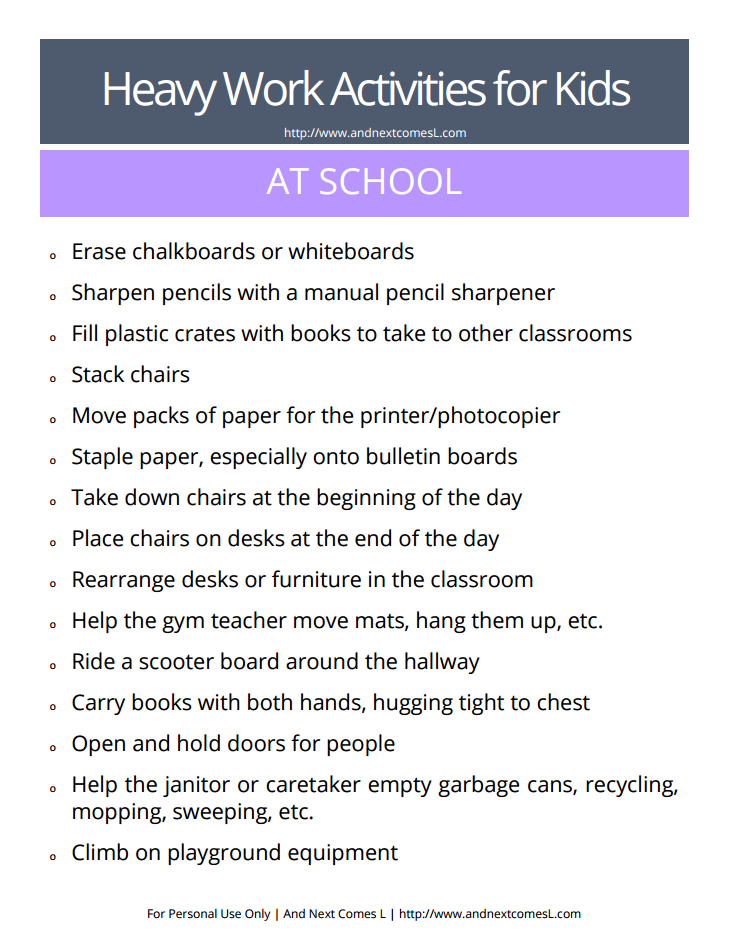 List of heavy work activities for the classroom