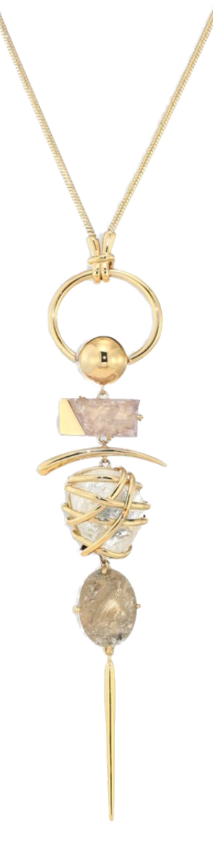 Alexis Bittar Miss Havisham Liquid Gold Slice Rough-Cut Quartz & Caged Rock Crystal Pendant Necklace