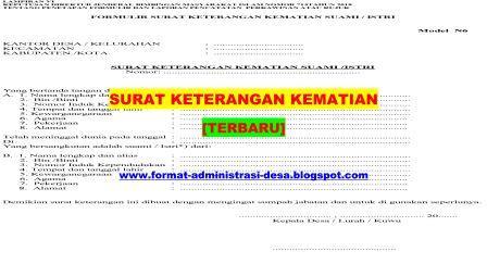 Contoh Surat Keterangan Kematian Format Administrasi Desa