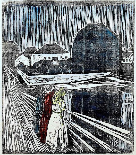 a print by Edvard Munch 1918, three girls looking from a bridge