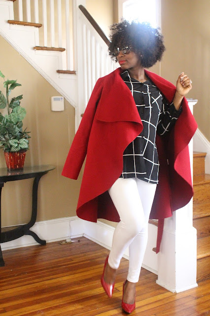 Maternity Style, Style The Bump, SheIn Red Ruffle Coat