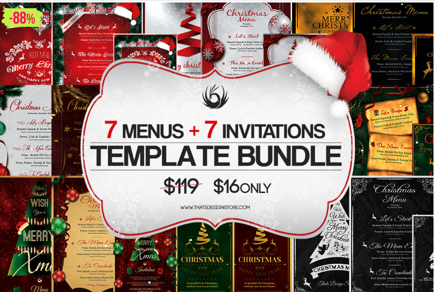christmas menu invitation template bundle