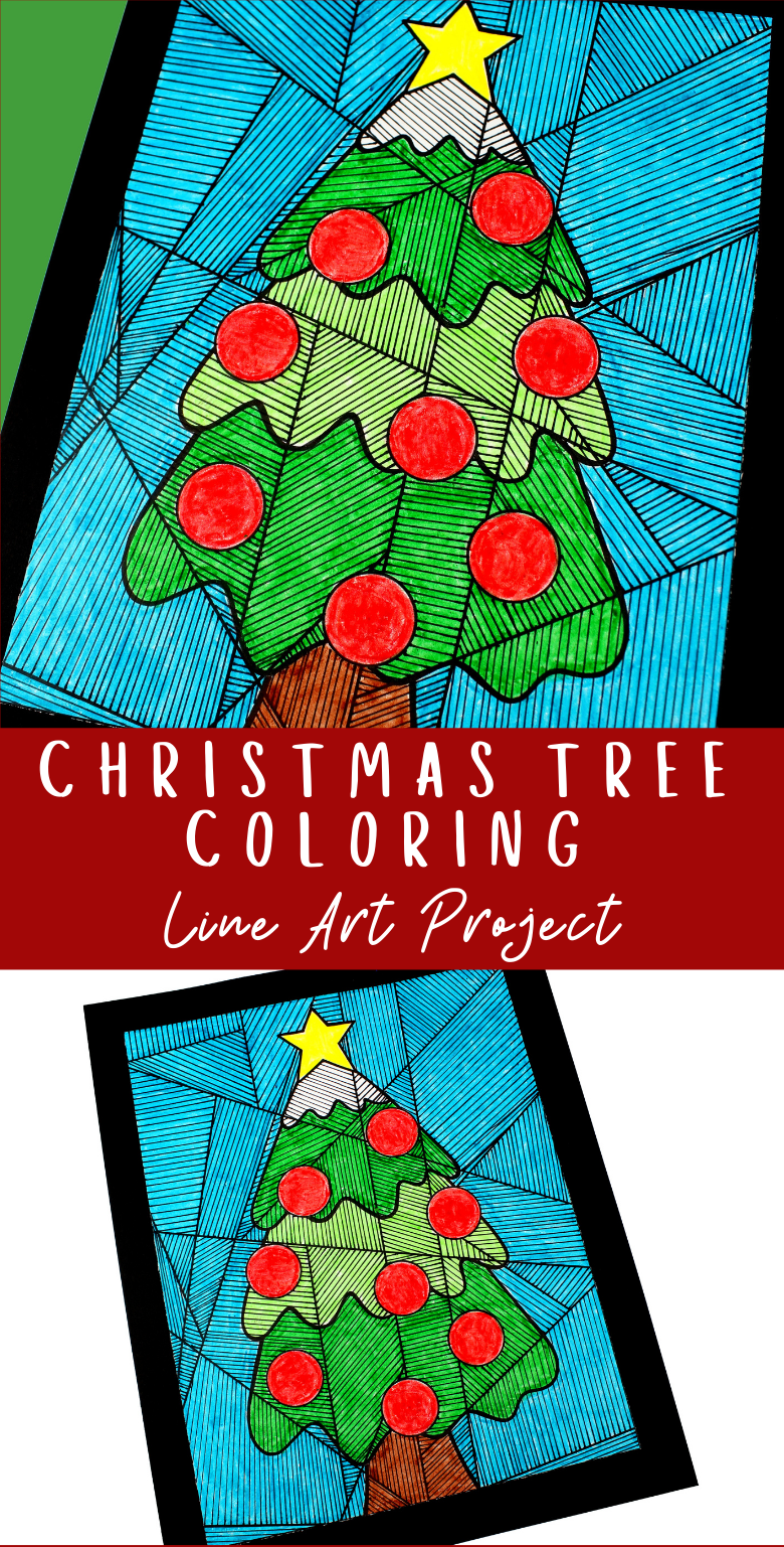 Christmas tree colouring page for kids. Easy Christmas art project.