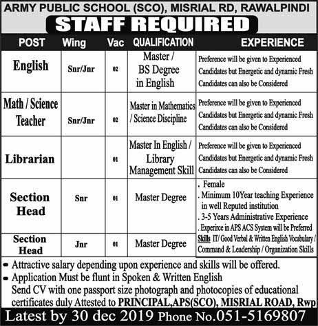 Army Public School SCO Rawalpindi Jobs