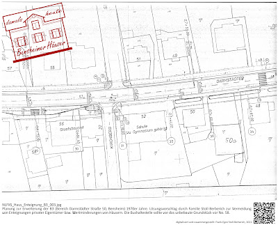 Bensheimer Häuser - Die Erweiterung der B3 - Darmstädter Straße 50 - Planung einer Bushaltestelle 1970 - Alternativvorschläge