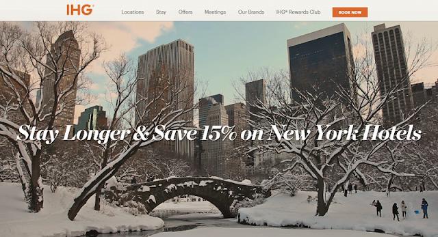 IHG洲際紐約地區酒店入住八五折 還有1美元享早餐和住三免一優惠