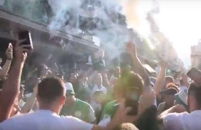 Πανηγυρικό κλίμα εστησαν οι οπαδοί της Χιμπέρνιαν στην Τρίπολη