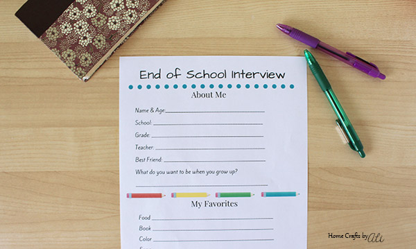 School Year End Favorites Printable Page
