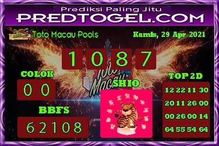 Pred Macau Kamis 29 April 2021