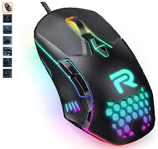 RUNMUS Gaming Mouse with 7 Programmable Buttons, Chroma RGB Backlight & 6400 Adjustable DPI, Ergonomic USB Computer Mouse with High Precision