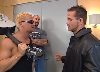 WCW Starrcade 2000 - Jeff Jarrett confronted Commissioner Mike Sanders backstage