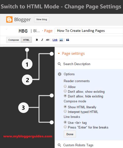 Landing Page Post Editor Setting