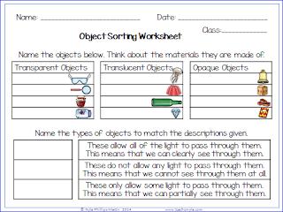 Light properties worksheets
