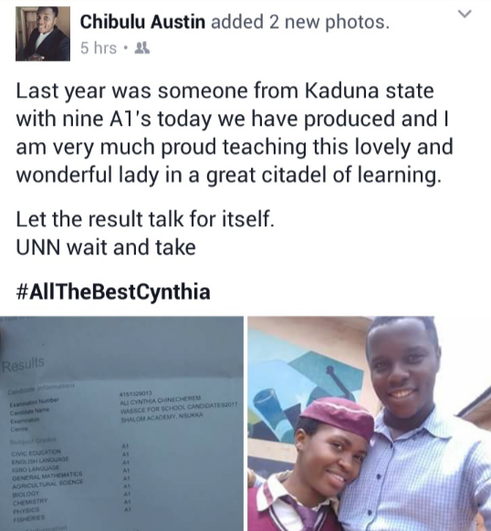 Female student from Nsukka breaks 2017 WAEC record with 9 A1's