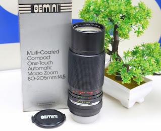 Lensa manual Gemini MC 80-205mm f4.5 for Minolta Bekas