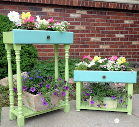 repurposed drawers into planters