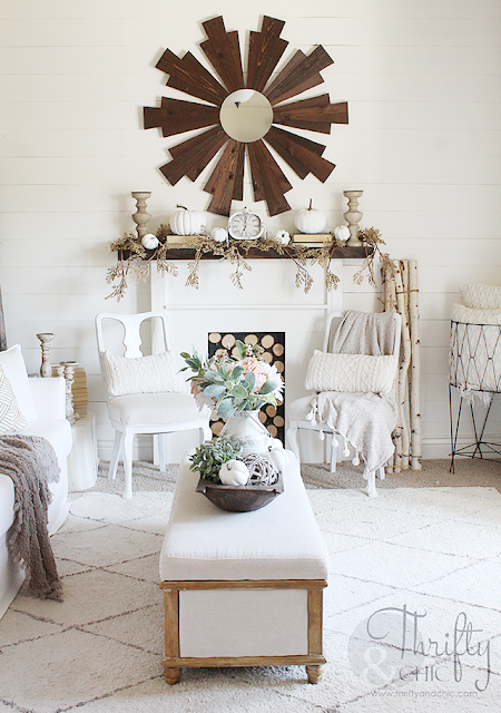 Neutral fall mantel decorating ideas. Neutral fall mantel ideas. How to decorate a mantel. White and green fall mantel decor. Farmhouse fall mantel decor and decorating ideas.