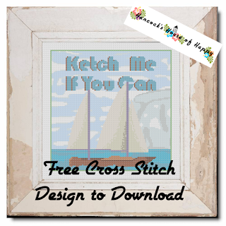 Nautical Daze! Ketch Me If You Can Nautical Sailing Themed Free Cross Stitch Pattern #crossstitch #xstitch