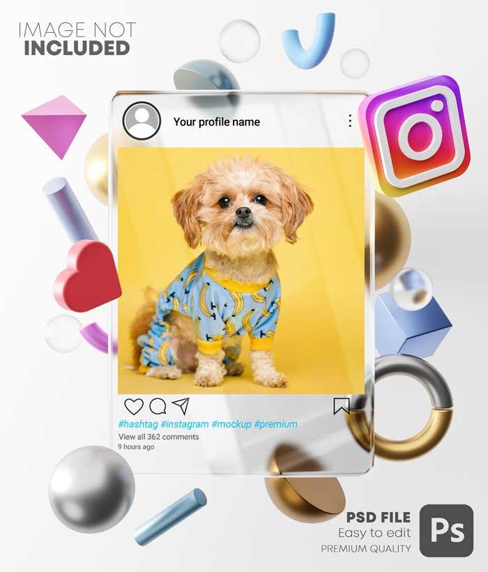 3D Shapes Bright Frame Instagram Background Post Mockup