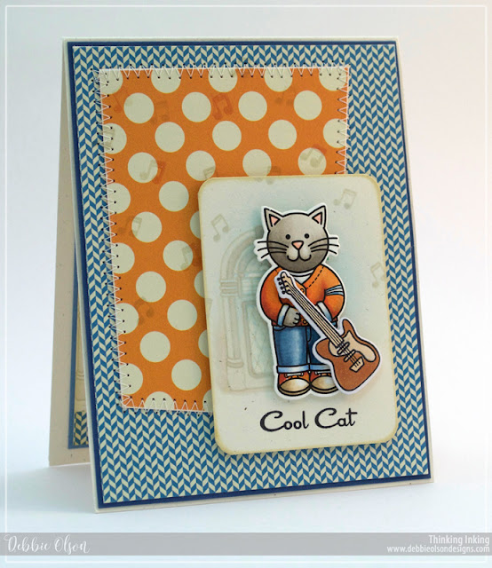 Sunny Studio Stamps: Sock Hop Cool Cat Guitar Card by Debbie Olson.