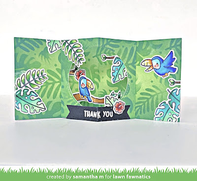 Center Picture Window Card by Samantha Mann for Lawn Fawnatics Challenge, Lawn Fawn, 3D Card, Card Making, Die Cutting, Distress Inks, Interactive #lawnfawn #lawnfawnatics #3dcard #cardmaking #papercrafts #distressinks