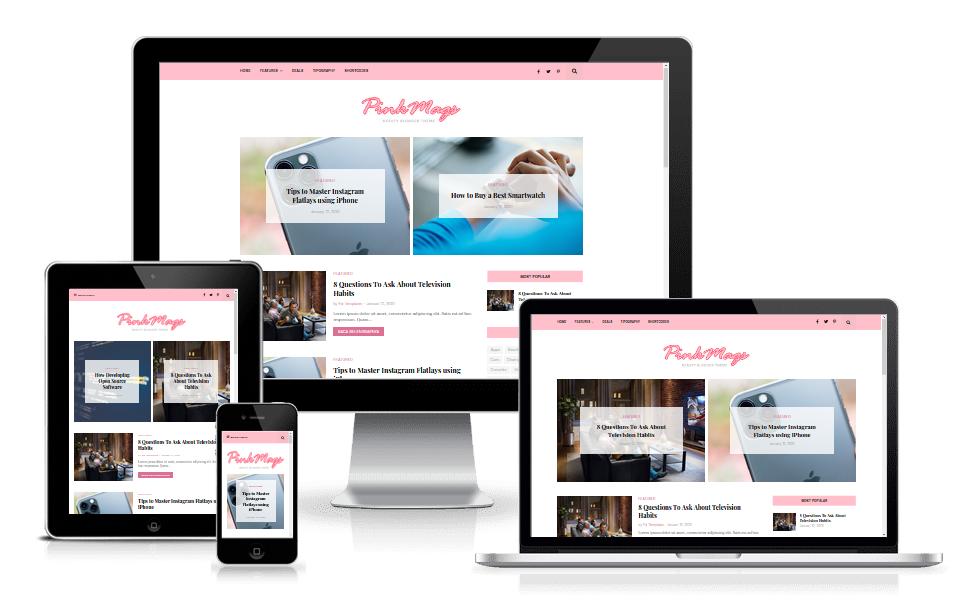 Pink Magz Pro Beautiful Blogger Template