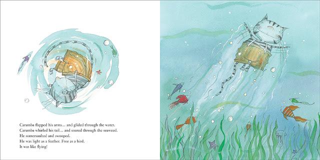 Finalmente y por accidente, el gato Caramba aprende a nadar, ilustración del cuento