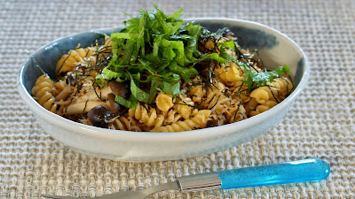 Fusilli with Shirasu and Shimeji Mushrooms (Japanese Pasta Recipe)