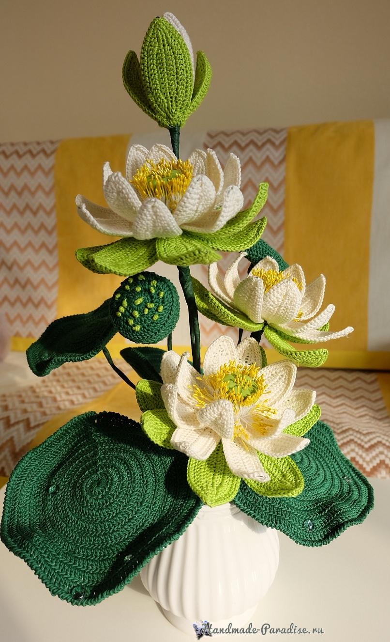 Большие цветы крючком - букет лотосов (5)