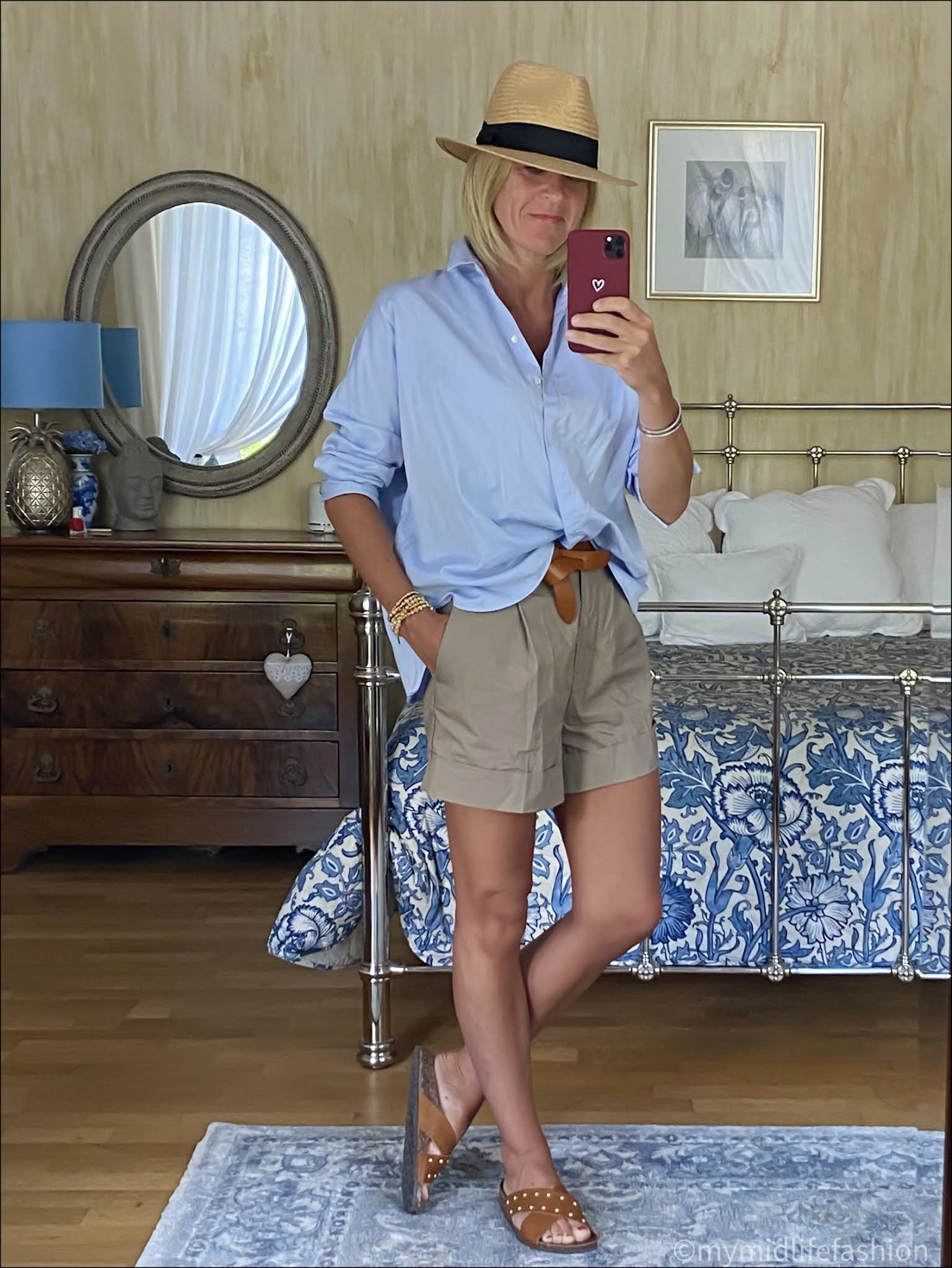 my midlife fashion, h and m Panama hat, Uterque oversized shirt, Isabel Marant lecce belt, h and m chino shorts, basalt studded sliders