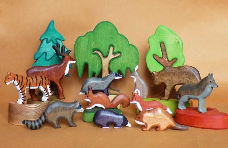 forest melody store wooden animals and trees