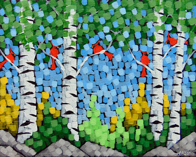 singing in the spring painting by artist aaron kloss, painting of cardinals, birch trees, painting of spring, pointillism