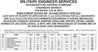 UP MES Military Engineer Services, Recruitment 2016 Admit