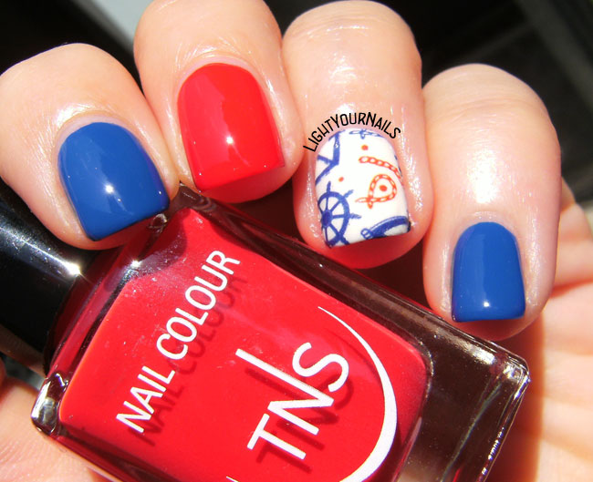 Nautical nail art with Nicole Diary's water decals and TNS Cosmetics