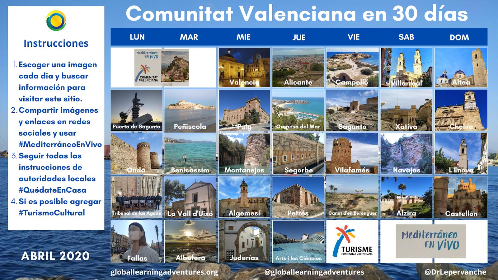 """""""Comunitat Valenciana en 30 Dias"""". Calendario #QuédateEnCasa. #StayAtHome Calendar """"Region of Valencia in 30 days"""""""