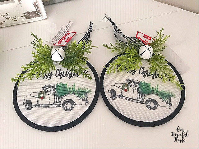 black embroidery hoop pick-up truck ornament