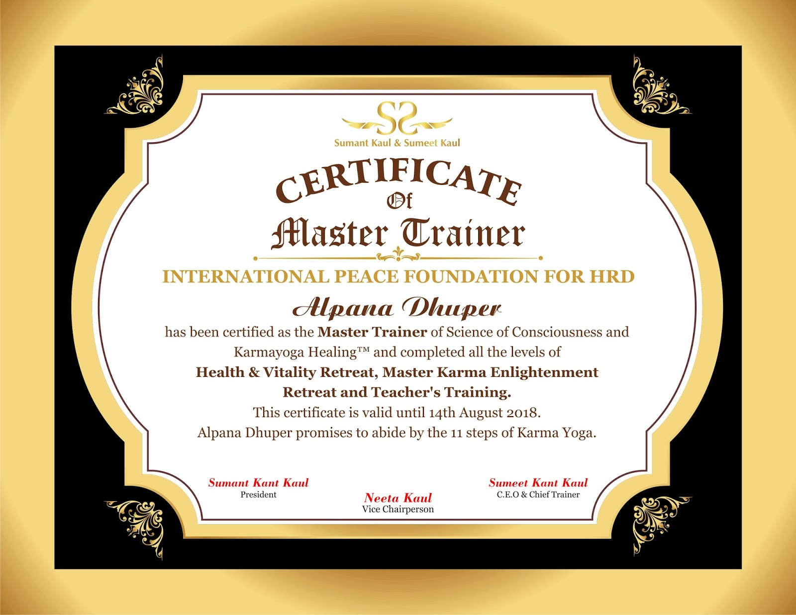 Ruchi Chauhan Graphic Designer Certificates