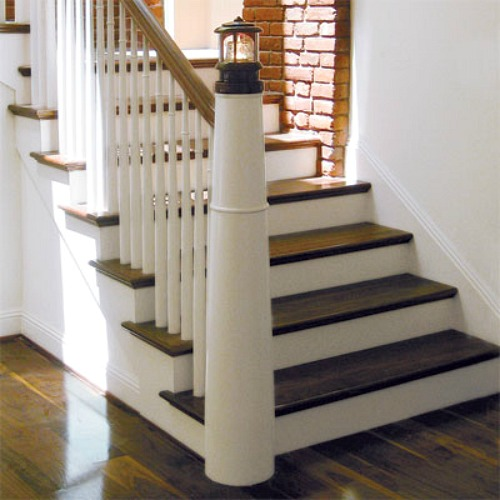 DIY Idea for Lighthouse Newel with Puck Light