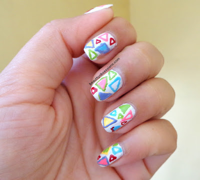 Geometric Pattern Nailart Tutorial With Colourful Triangles Design ...
