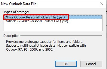 Membuat file baru yaitu New Outlook Data File