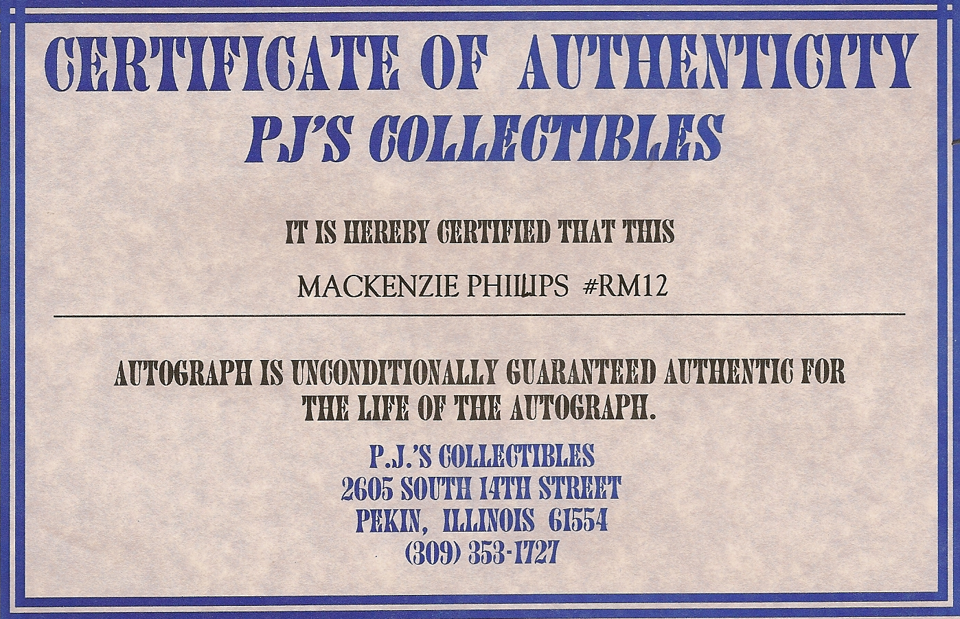 certificate of authenticity autograph template kip 39 s american graffiti blog november 2011