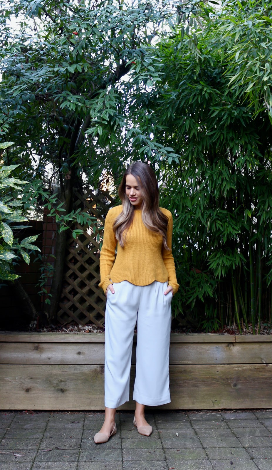 Jules in Flats - Cropped Scalloped Hem Sweater & J.Crew Culottes (Business Casual Spring Workwear on a Budget)