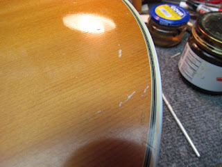 repairing blistered finish and nicks on guild guitar with nitro lacquer crawls backward when. Black Bedroom Furniture Sets. Home Design Ideas